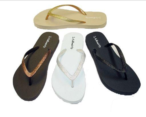 Wholesale Footwear WOMEN' FLIP FLOPS WITH GLITTERING STRAPS IN ASSORTED COLOR