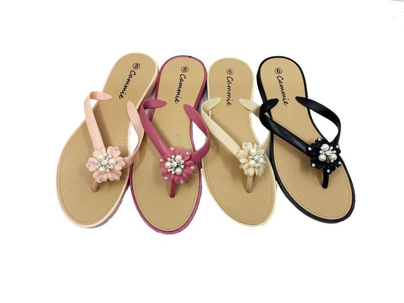 Wholesale Footwear Women Flip Flops With Glittering Flower