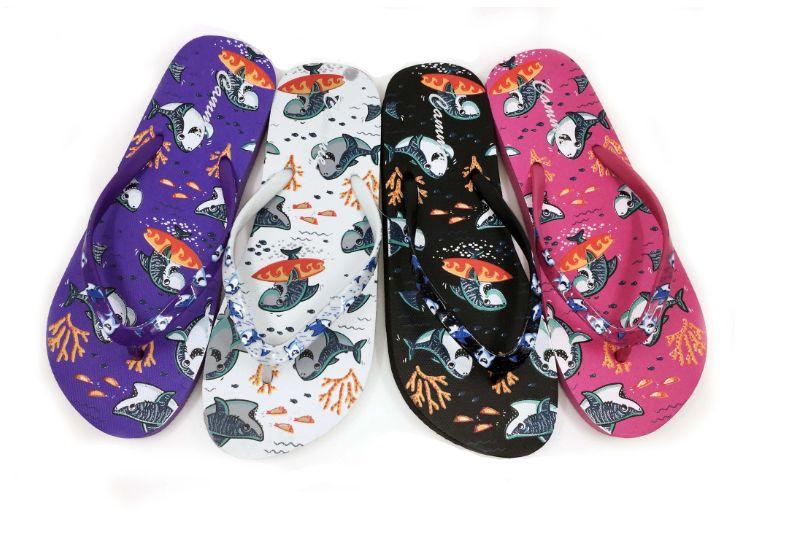 Wholesale Footwear WOMENS FLIP FLOPS WITH SHARK PRINT