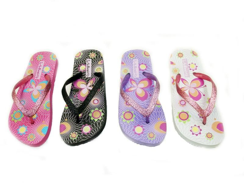 Wholesale Footwear Womens Colorful Flip Flops With Glittering Straps