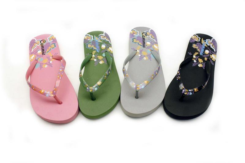Wholesale Footwear WOMENS SOOTHING FLIP FLOPS WITH FLOWER PRINT