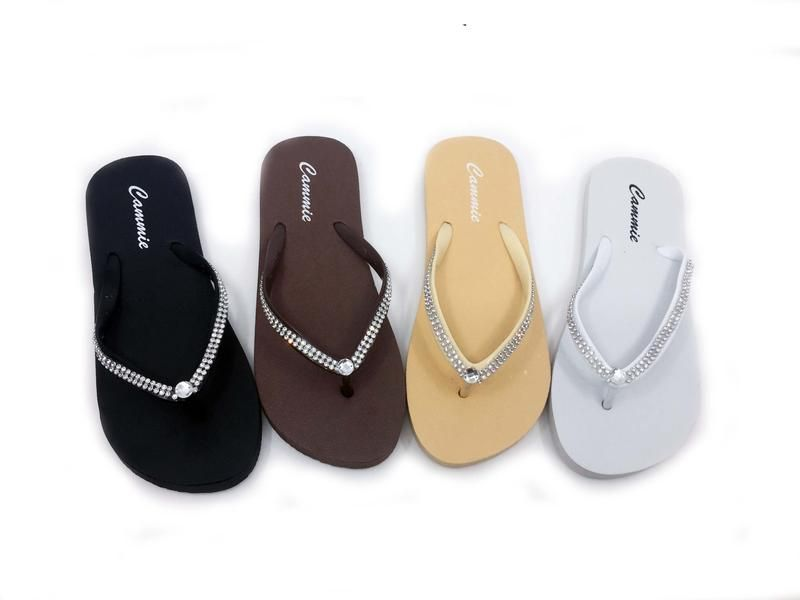 Wholesale Footwear CLASSY WOMEN' FLIP FLOPS WITH RHINESTONE STRAPS