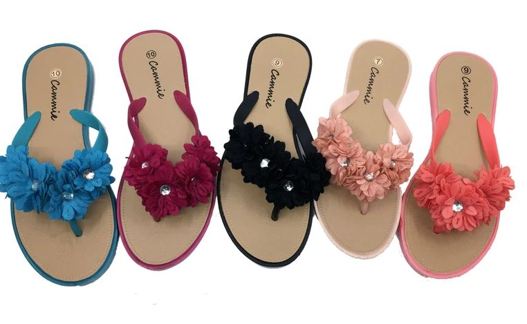 Wholesale Footwear WOMEN SANDALS WITH FLOWERS AND RHINESTONE