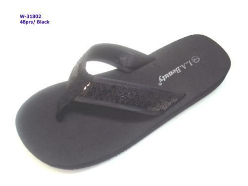 Wholesale Footwear WOMENS SEQUIN BLACK SANDALS
