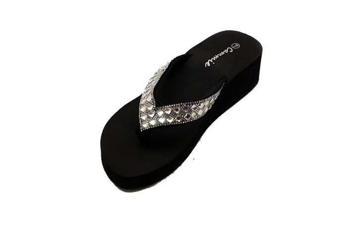 Wholesale Footwear BLACK WEDGE SANDALS WITH GOLD AND SILVER RHINESTONE IN BLACK