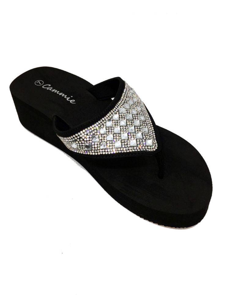 Wholesale Footwear CAMMIE DOUBLE WEDGE SANDALS WITH RHINESTONES IN BLACK
