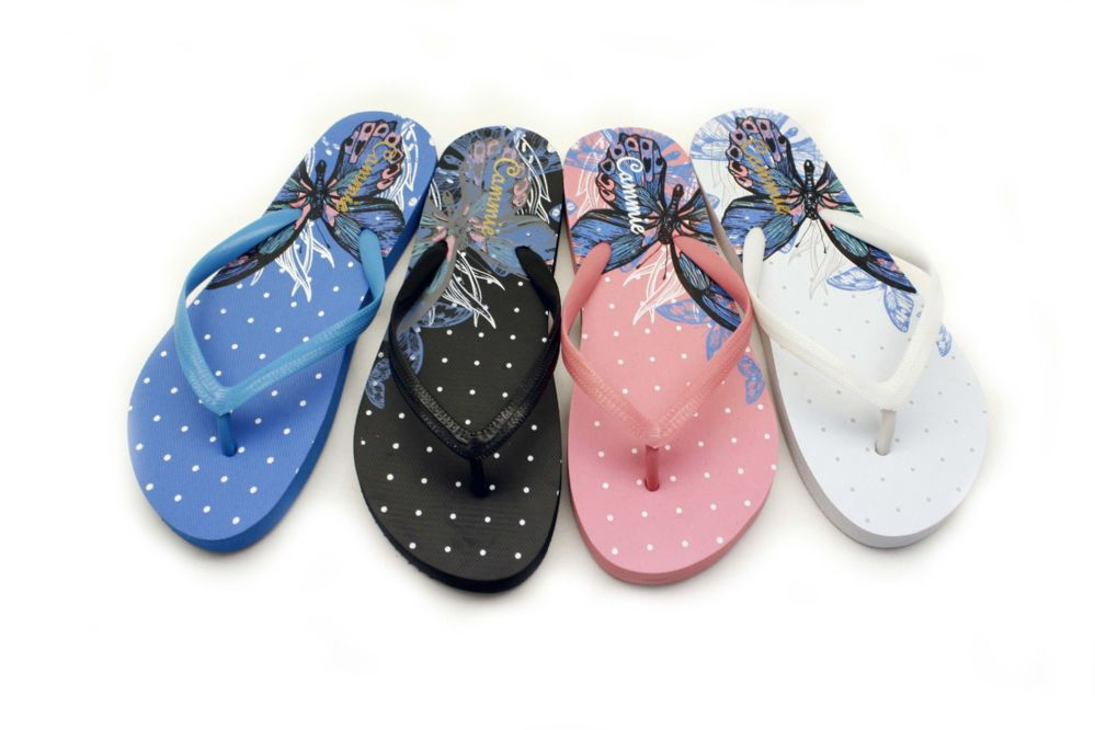 Wholesale Footwear Butterfly Print Women Flip Flops