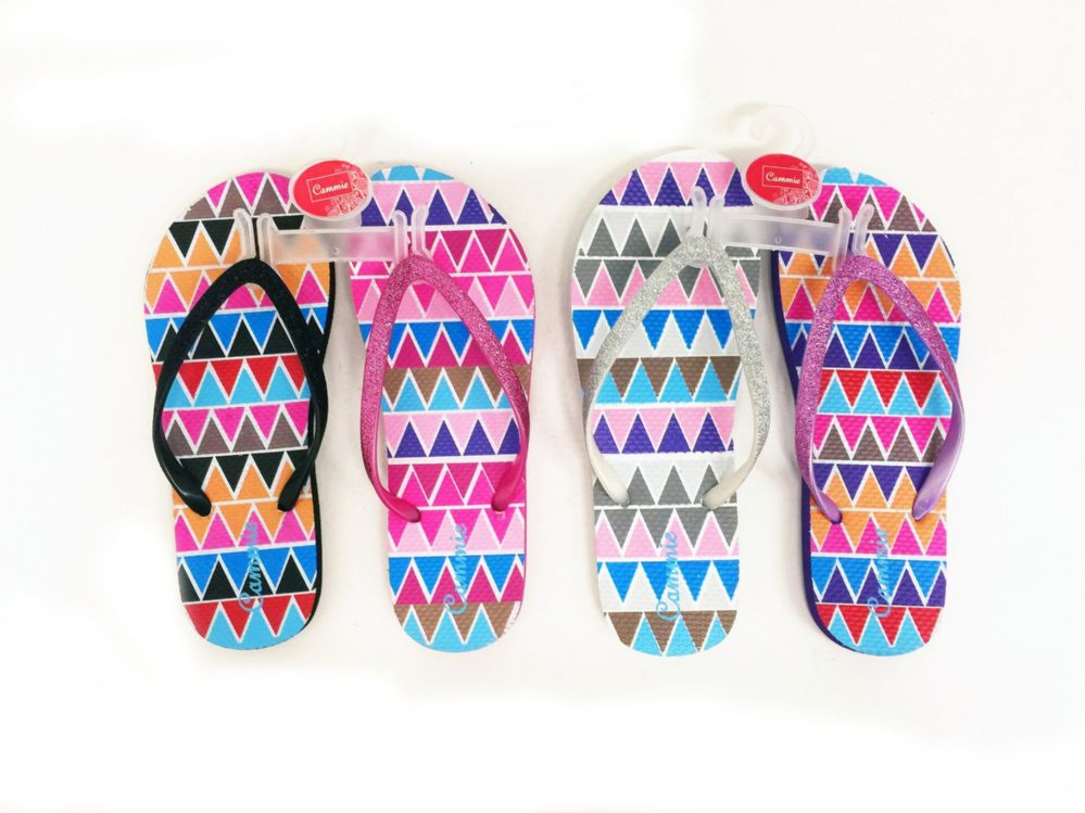 Wholesale Footwear Womens Flip Flops Zigzag Print With Glittering Straps