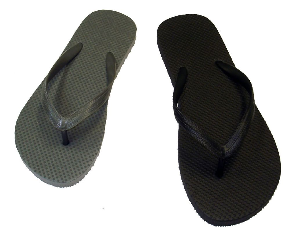 Wholesale Footwear WOMENS BASIC FLIP FLOPS IN BLACK AND GREY