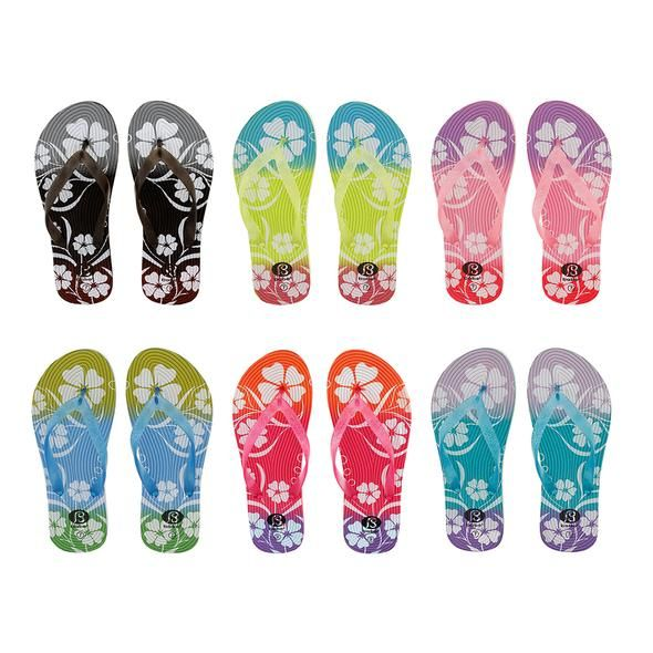 Wholesale Footwear Women's Flower Design Flip Flops