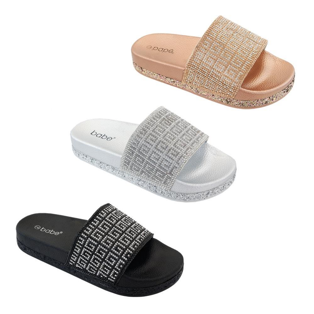 Wholesale Footwear Women's Rhinestone Slide In Rose Gold