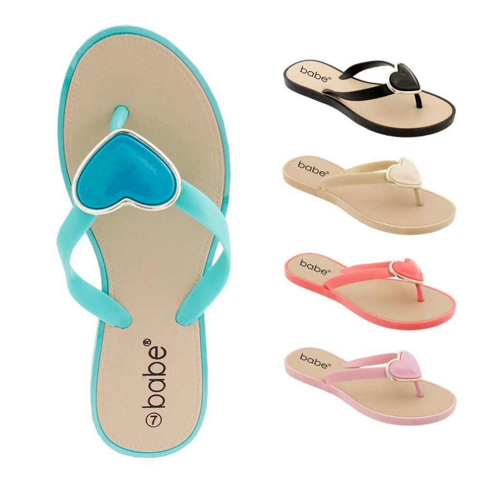 Wholesale Footwear Women's Flip Flop with heart ornament