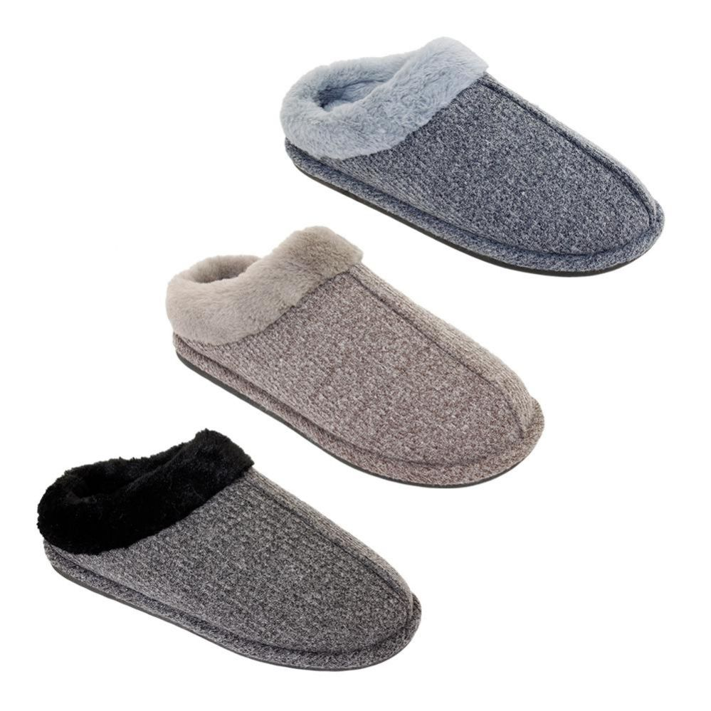 Wholesale Footwear Mens Fur Fleece Lined Winter Slippers