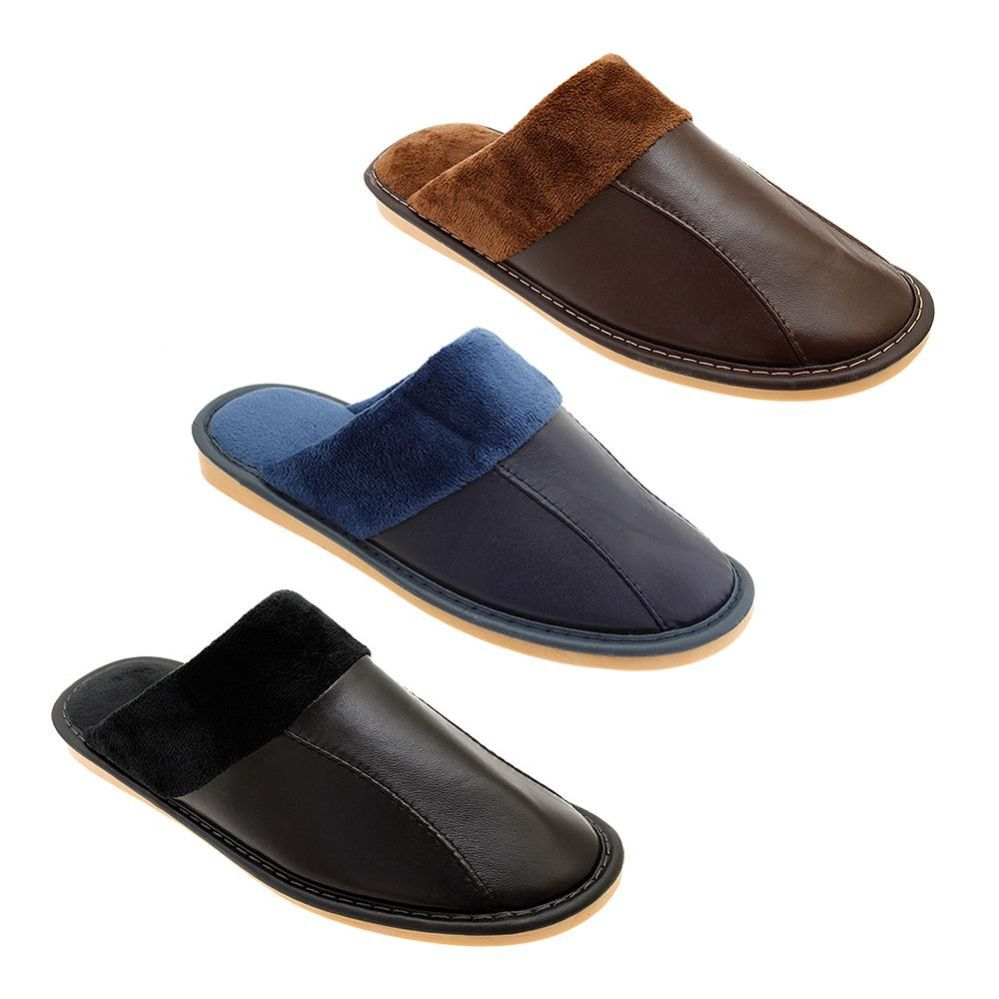 Wholesale Footwear Mens Warm Fuzzy Lined Leather Slippers