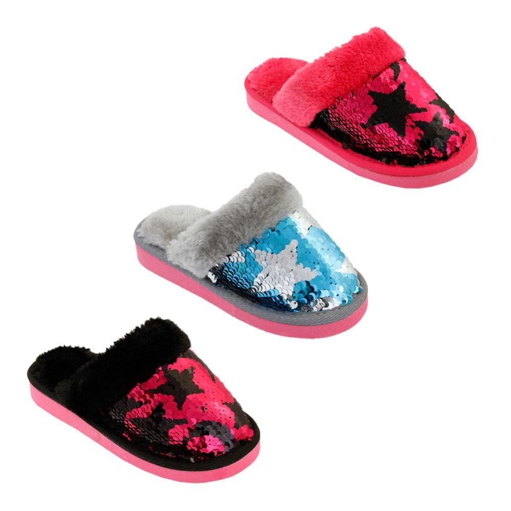 Wholesale Footwear Girls Magic Star Sequin Winter Slippers