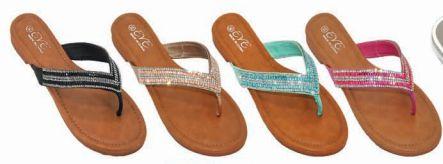 Wholesale Footwear Womens Rhinestone Flip Flops Beach Flat Thong Sandals
