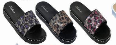 Wholesale Footwear Women's Leopard Print Open Toe Sandals Thick Soled Slippers