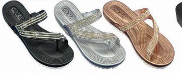 Wholesale Footwear Womens T Strap Flat Sandals Open Toe Bohemian Rhinestone Thong Flip Flops Sandal