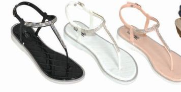 Wholesale Footwear Women's Rhinestone Flip Flops Beach Flat Thong Sandals With Ankle Strap