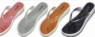 Wholesale Footwear Womens Jelly Flat Glitter Flip Flop Thong Sandal Shoes
