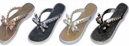 Wholesale Footwear Womens Flip Flops Bow Rhinestones Thong Flat Dress Sandals