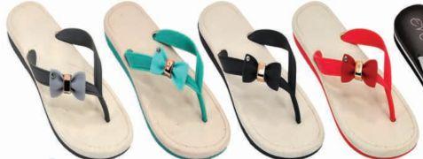 Wholesale Footwear Womens Flat Sandals Bow Embellished Flip Flops Sandal