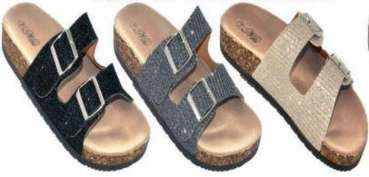 Wholesale Footwear Womens Comfort Slide Sandal Glitter
