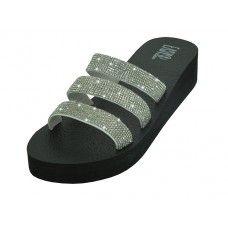 Wholesale Footwear Women's Rhinestone Upper Wedge Sandals ( *silver Color )