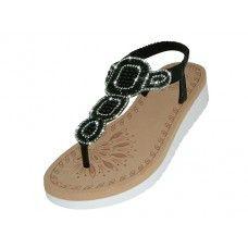 Wholesale Footwear Women's Super Soft Rhinestone Upper Sandals (*black Color )