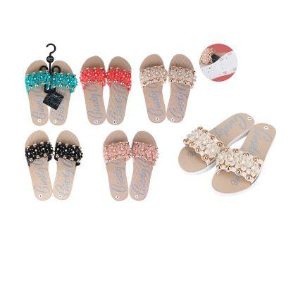 Wholesale Footwear Cc Sandal Ladies Pvc Flower W/ Pearls Rose Gold