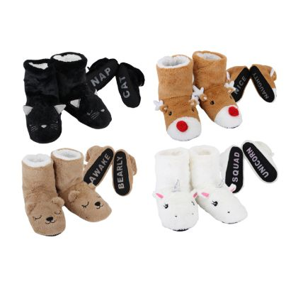 Wholesale Footwear Cozy House Booties Animals Words Bottom