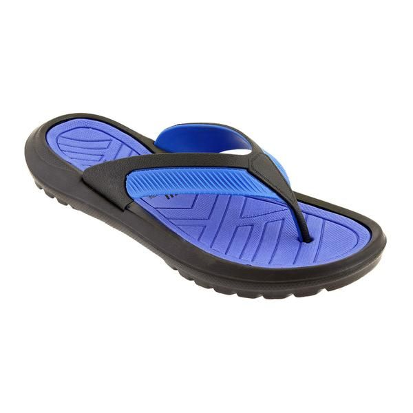 Wholesale Footwear Mens Thong Sandals In Black And Blue
