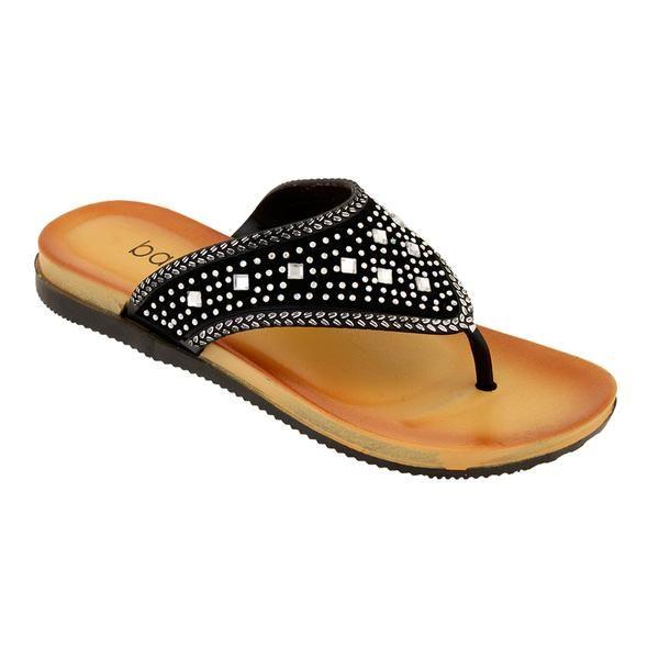 Wholesale Footwear Women's Rhinestone Flip Flops In Black
