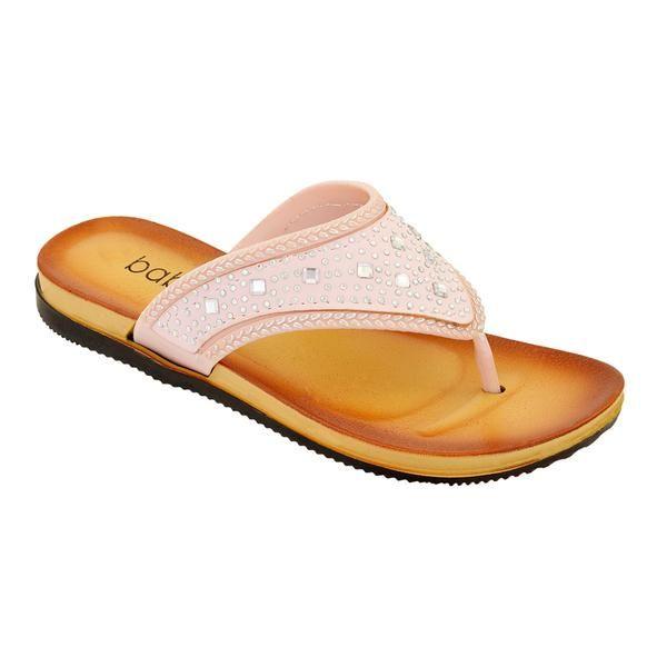 Wholesale Footwear Women's Rhinestone Flip Flops In Peach