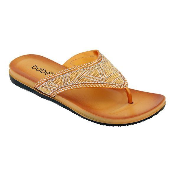 Wholesale Footwear Women's Fashion Rhinestone Flip Flop In Gold