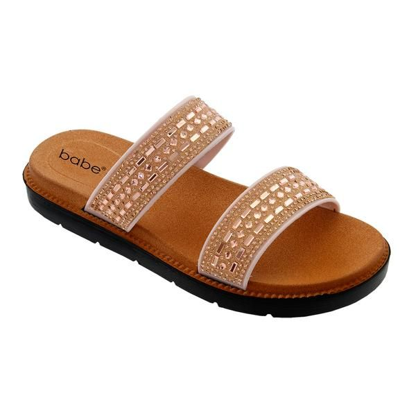 Wholesale Footwear Womens Rhinestone Double Band In Rose Gold