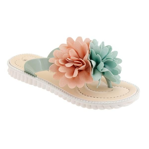 Wholesale Footwear Women Floral Aplique Sandals In Green