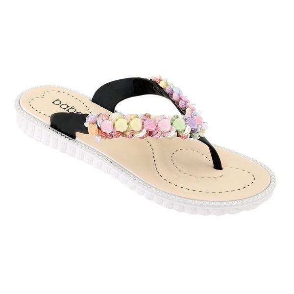 Wholesale Footwear Women Seashell Flip Flops In Black