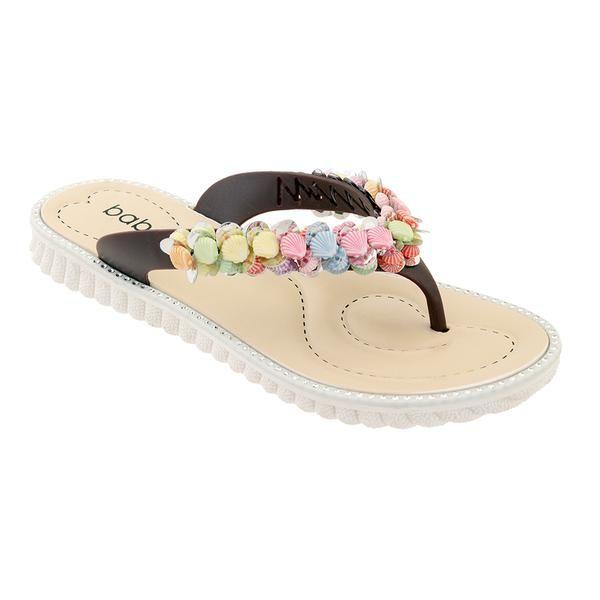 Wholesale Footwear Women Seashell Flip Flops In Brown