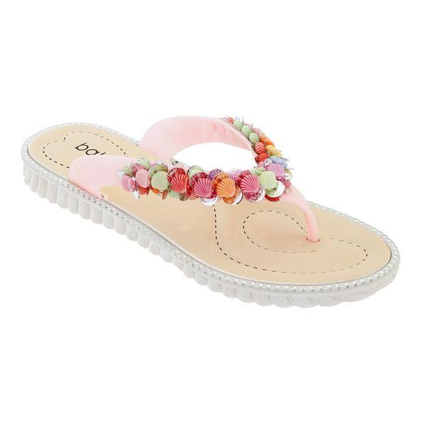 Wholesale Footwear Women Seashell Flip Flops In Pink