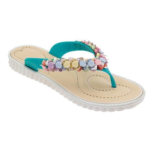Wholesale Footwear Women Seashell Flip Flops In Teal