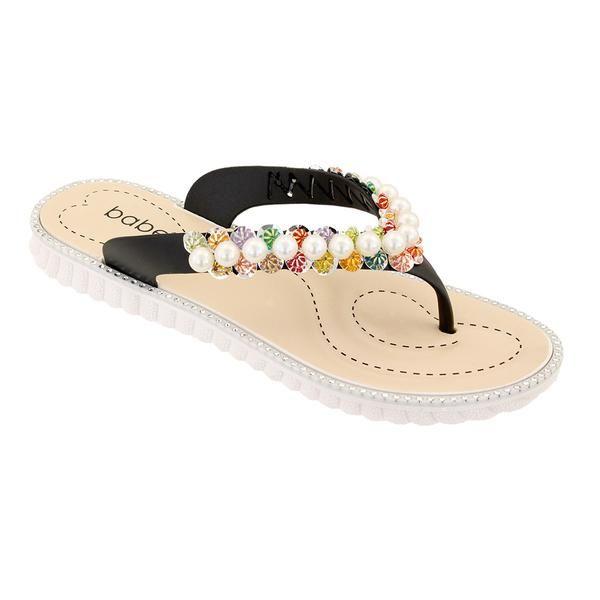Wholesale Footwear Women Pearl Flip Flops In Black