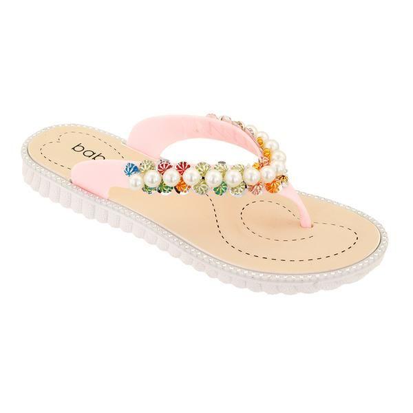 Wholesale Footwear Women Pearl Flip Flops In Pink