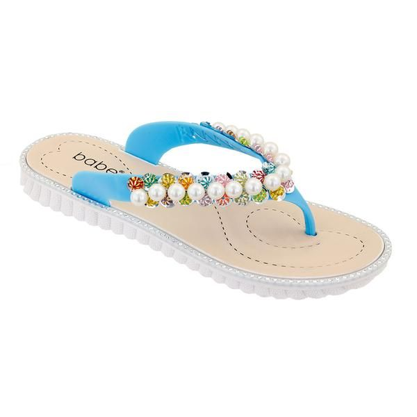 Wholesale Footwear Women Pearl Flip Flops In Teal
