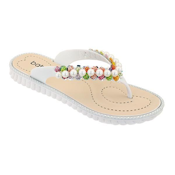 Wholesale Footwear Women Pearl Flip Flops In White