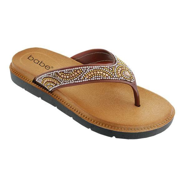 Wholesale Footwear Women Rhinestone Sandals In Brown