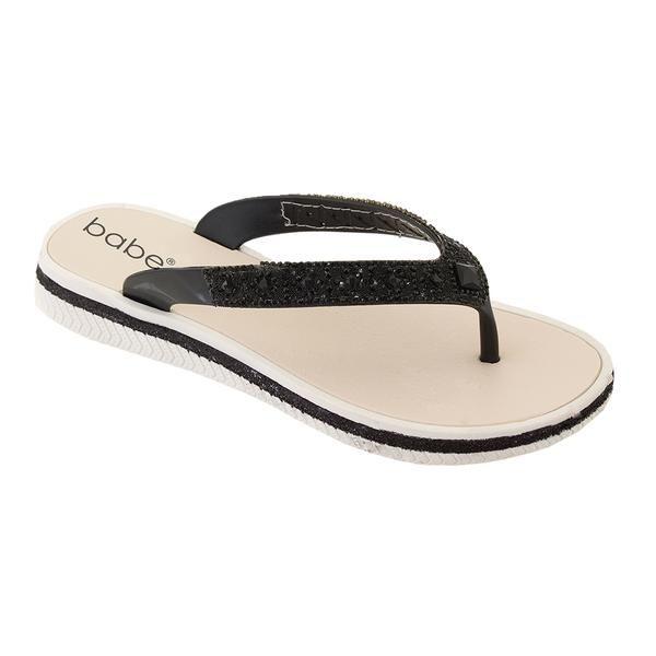 Wholesale Footwear Women Rhinestone Flip Flops In Black
