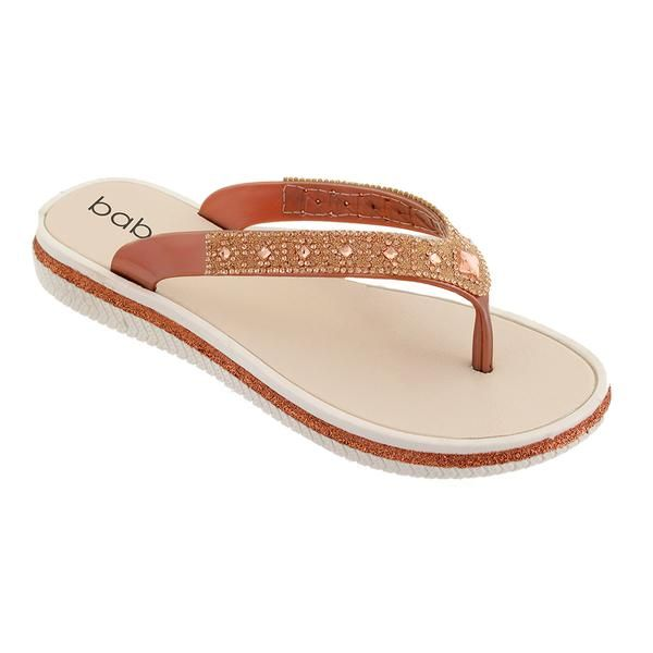 Wholesale Footwear Women Rhinestone Flip Flops In Rose Gold