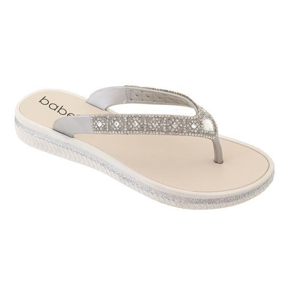 Wholesale Footwear Women Rhinestone Flip Flops In Silver