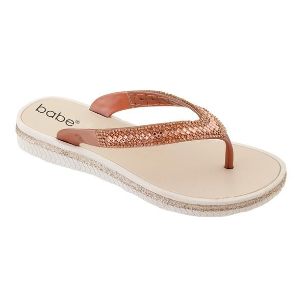 Wholesale Footwear Women Rhinestone Flip Flops In Rose Gold
